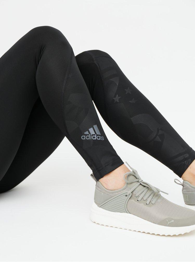 Čierne dámske vzorované legíny adidas Performance