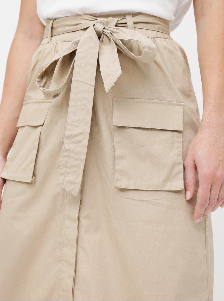 Béžová sukňa s vreckami VILA Nyala