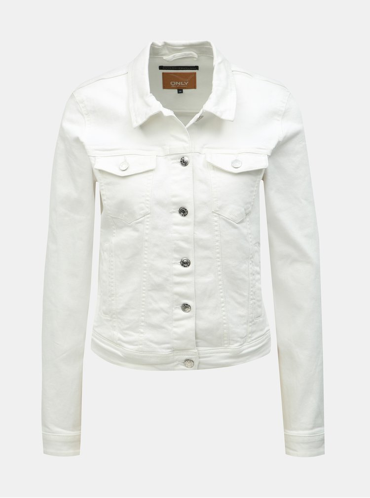 Jacheta alba din denim ONLY Tia