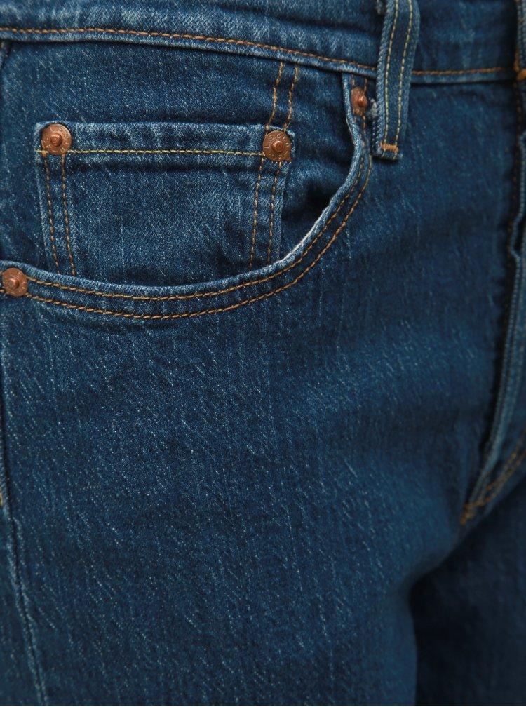 Blugi albastru inchis straight fit de dama pana la glezne Levi's® 501