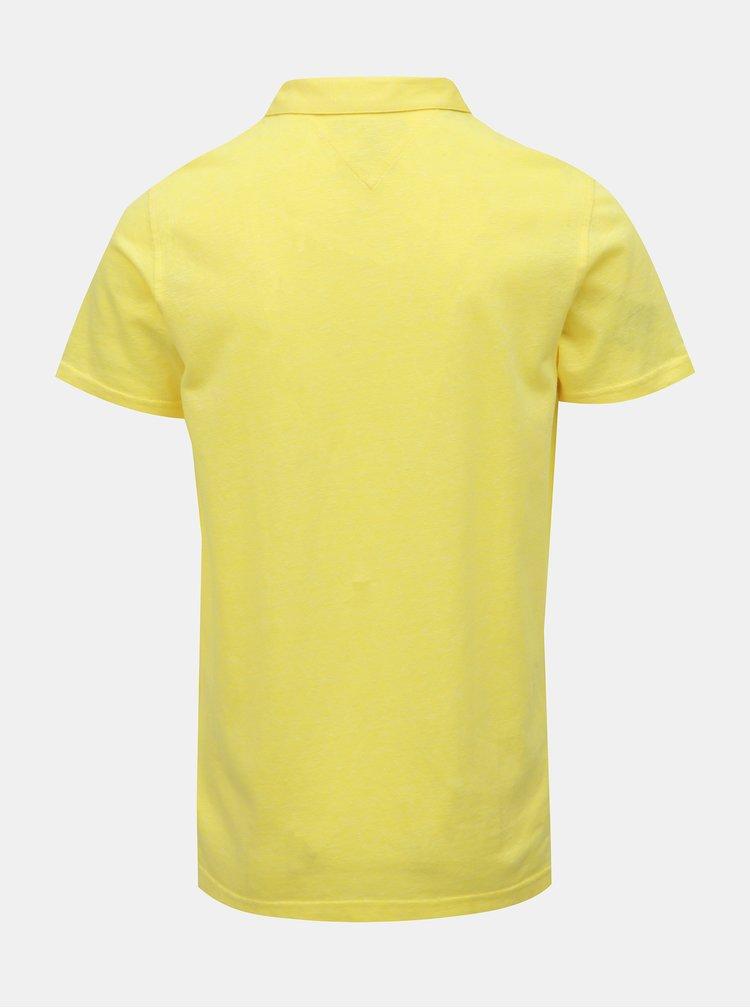 Žltá pánska ľanová basic polokošeľa Tommy Hilfiger