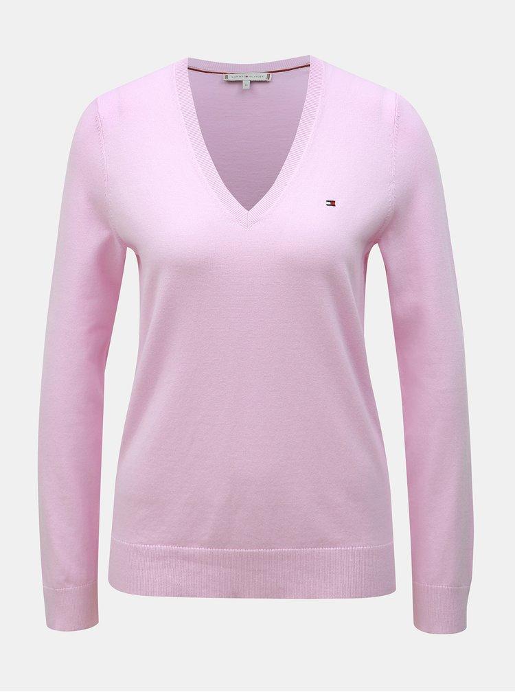 Svetloružový dámsky basic sveter Tommy Hilfiger