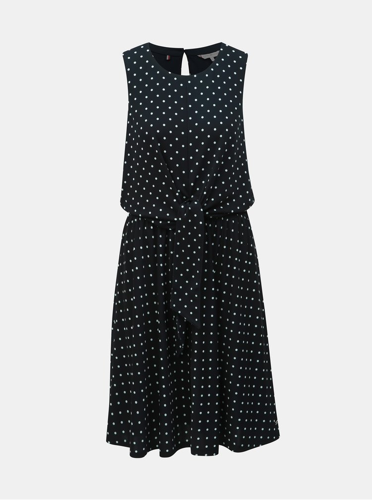 Čierne bodkované šaty so zaväzovaním Tommy Hilfiger Barbara