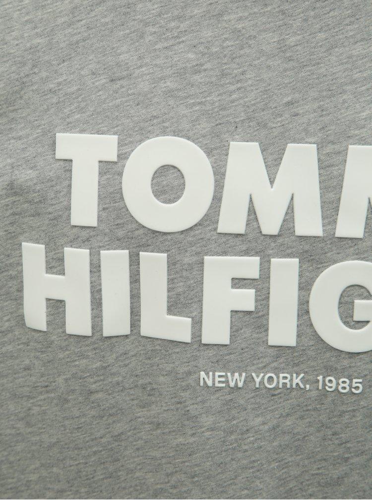 Sivé pánske melírované tričko s potlačou Tommy Hilfiger
