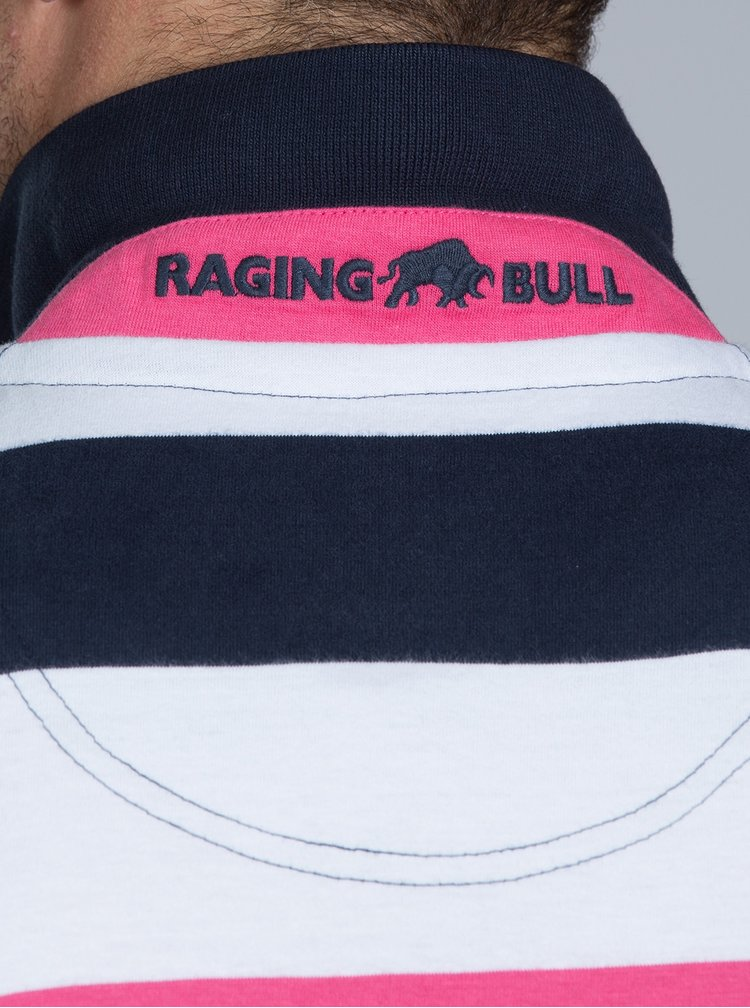 Tricou polo albastru-alb in dungi Raging Bull