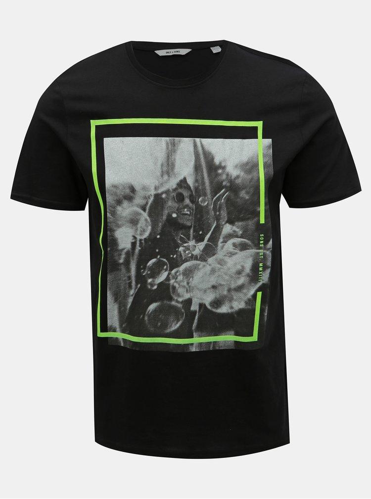 Tricou negru cu imprimeu ONLY & SONS Petal
