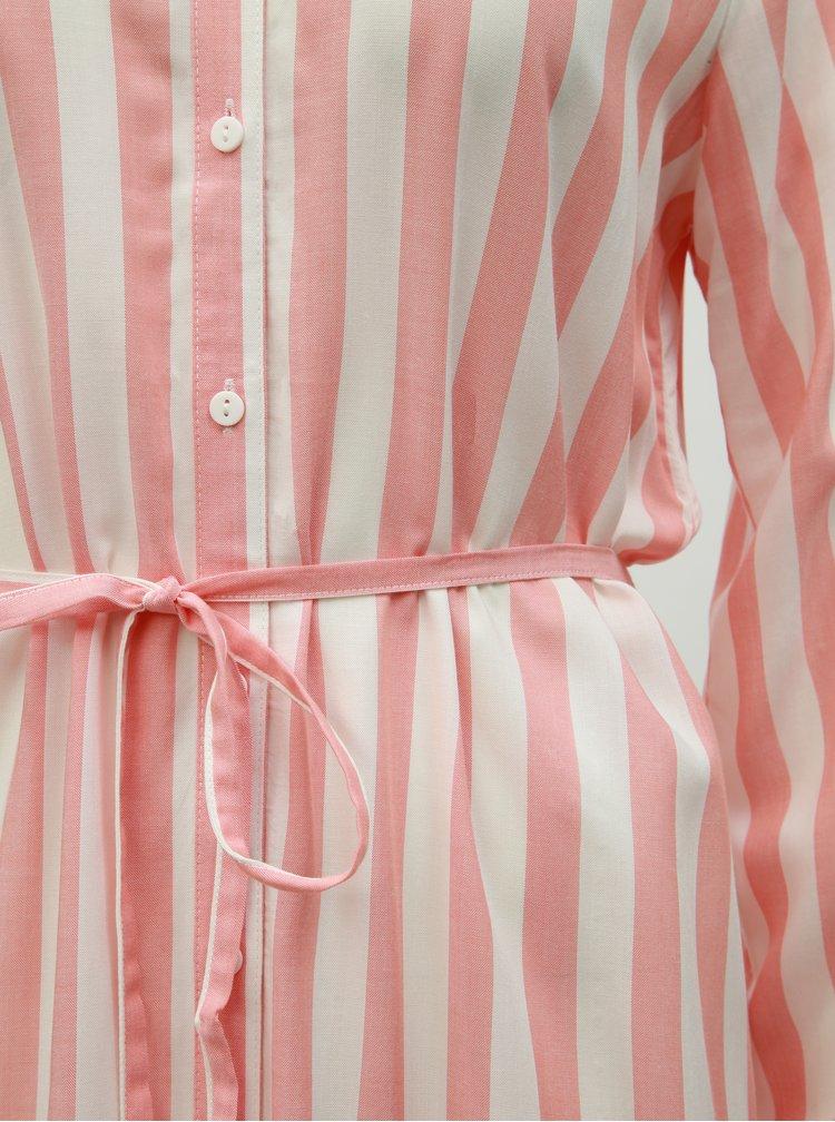 Rochie tip camasa midi crem-roz in dungi VILA Harper