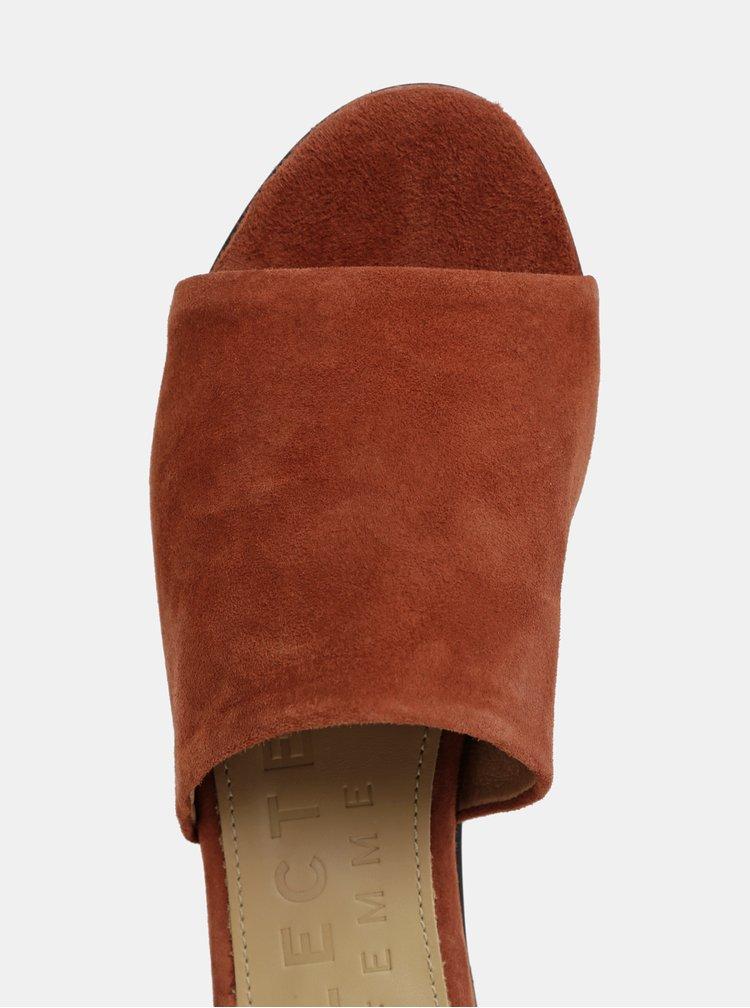 Cihlové semišové pantofle Selected Femme Merle