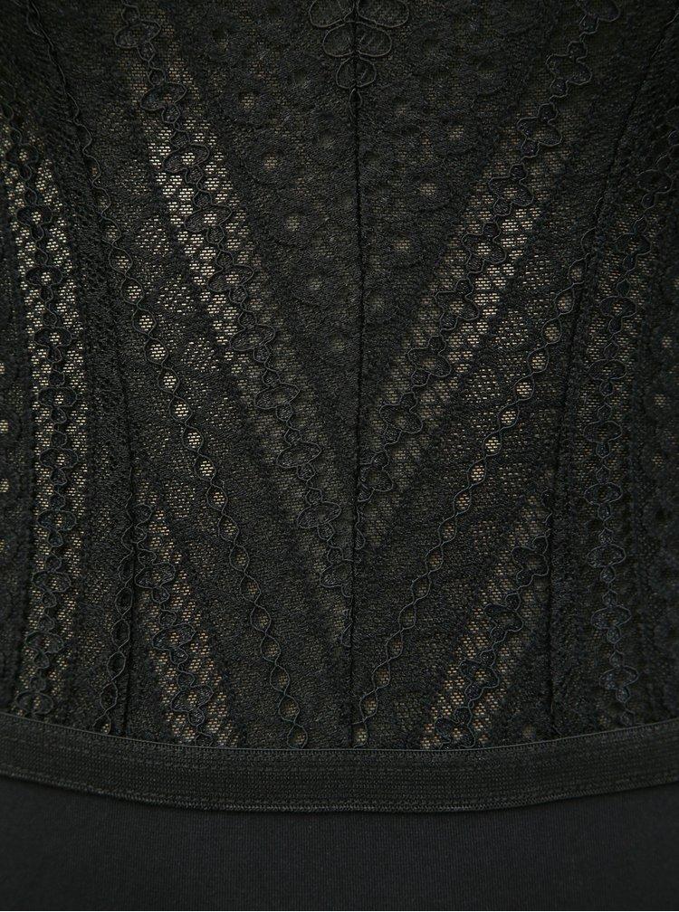 Body negru din dantela Pieces Mollie