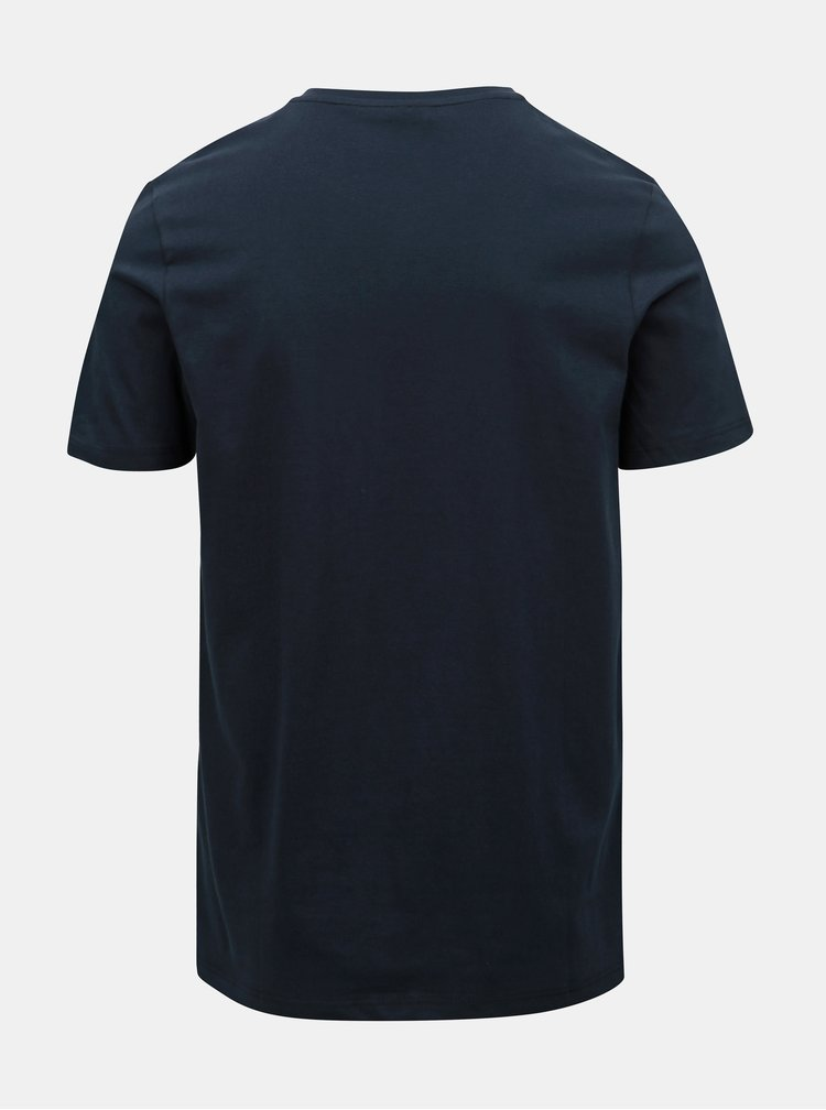 Tricou albastru inchis slim fit cu buzunar Jack & Jones Boston