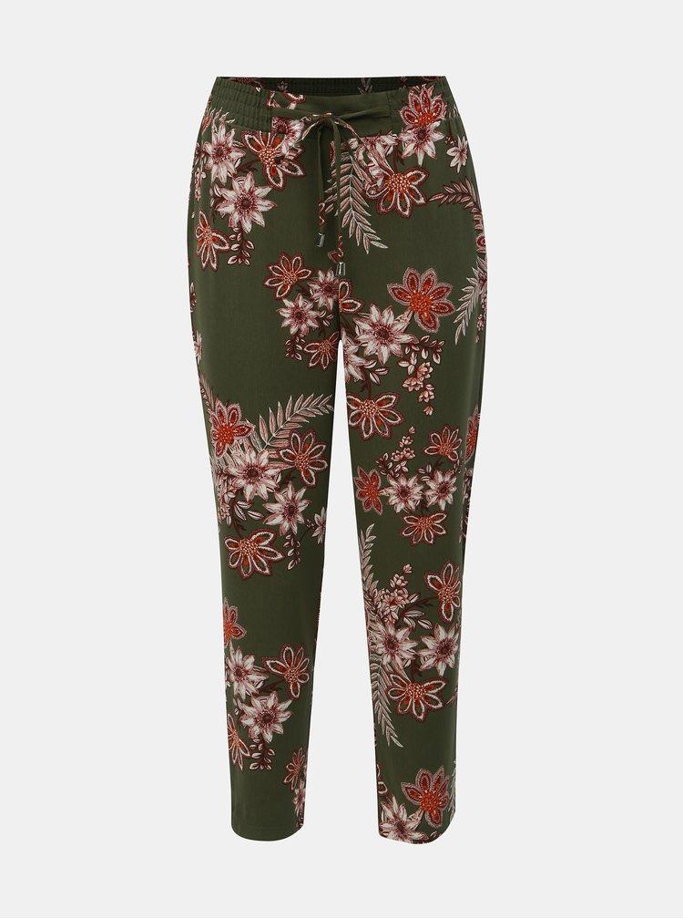 Khaki květované kalhoty Dorothy Perkins Petite