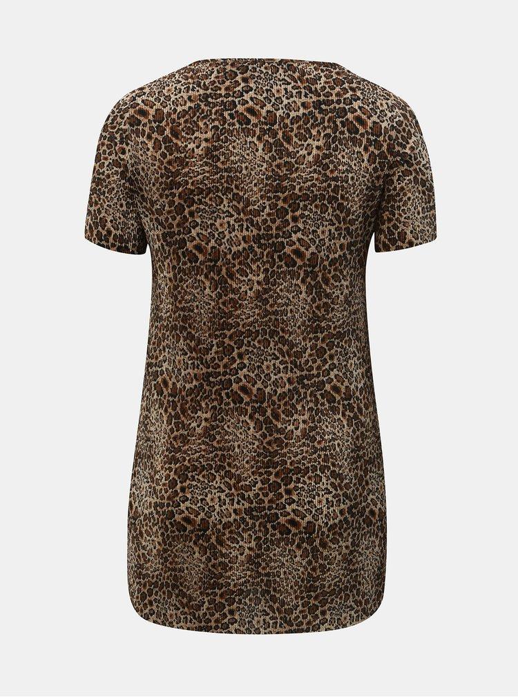 Hnedá plisovaná tunika s leopardím vzorom Dorothy Perkins Curve