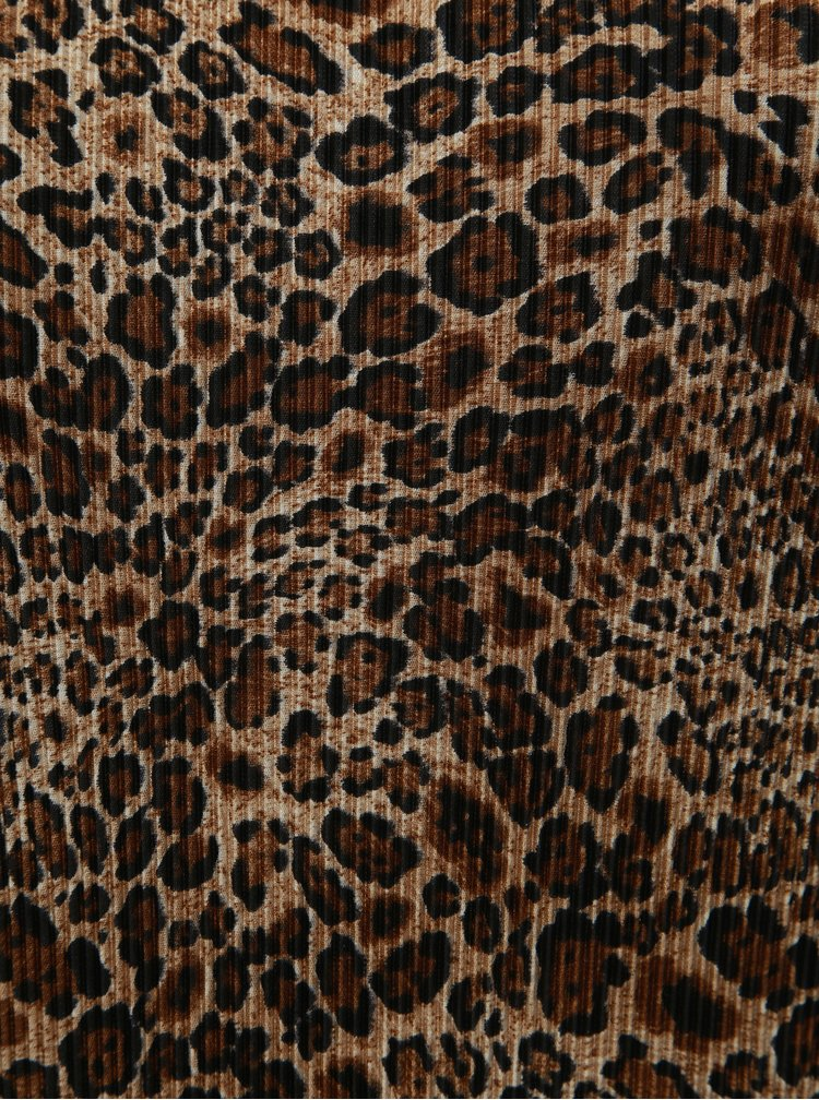 Hnedá plisovaná blůzka s leopardím vzorom Dorothy Perkins Curve