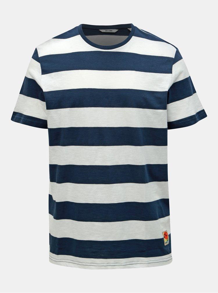 Bílo-modré pruhované basic tričko ONLY & SONS Patterson