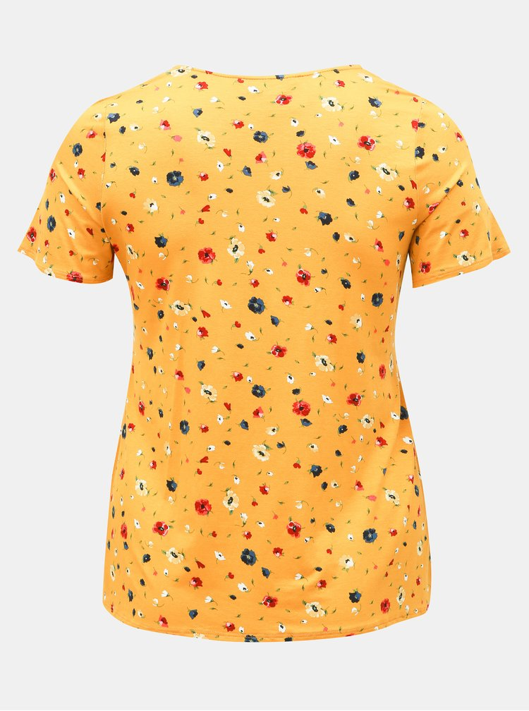 Tricou mustar floral Dorothy Perkins Curve