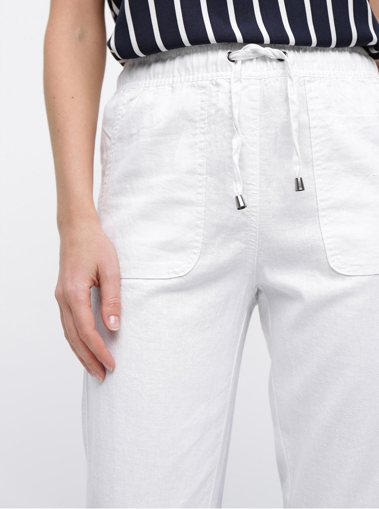 Pantaloni albi din in M&Co