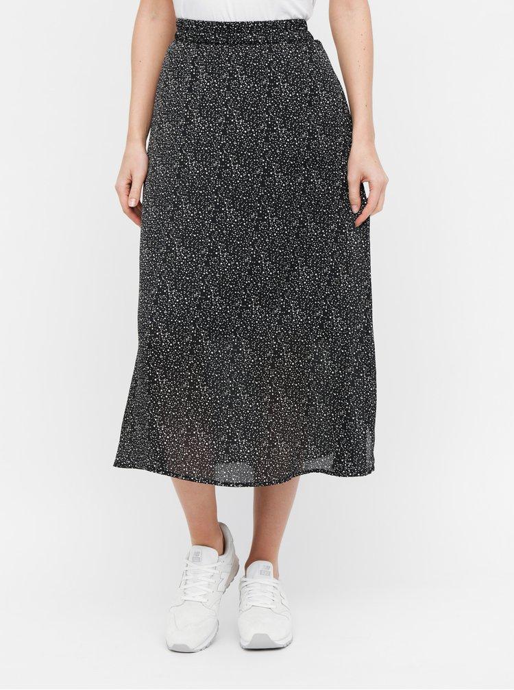 Černá puntíkovaná midi sukně VERO MODA Grace