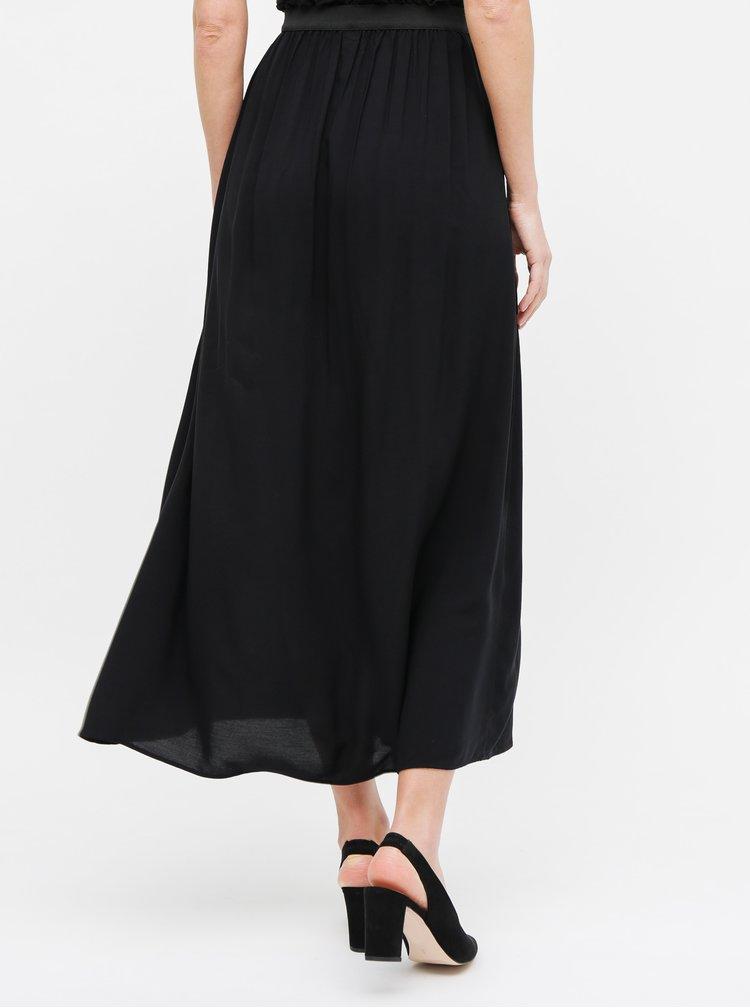 Černá maxi sukně s nařaseným lemem VERO MODA Bauty