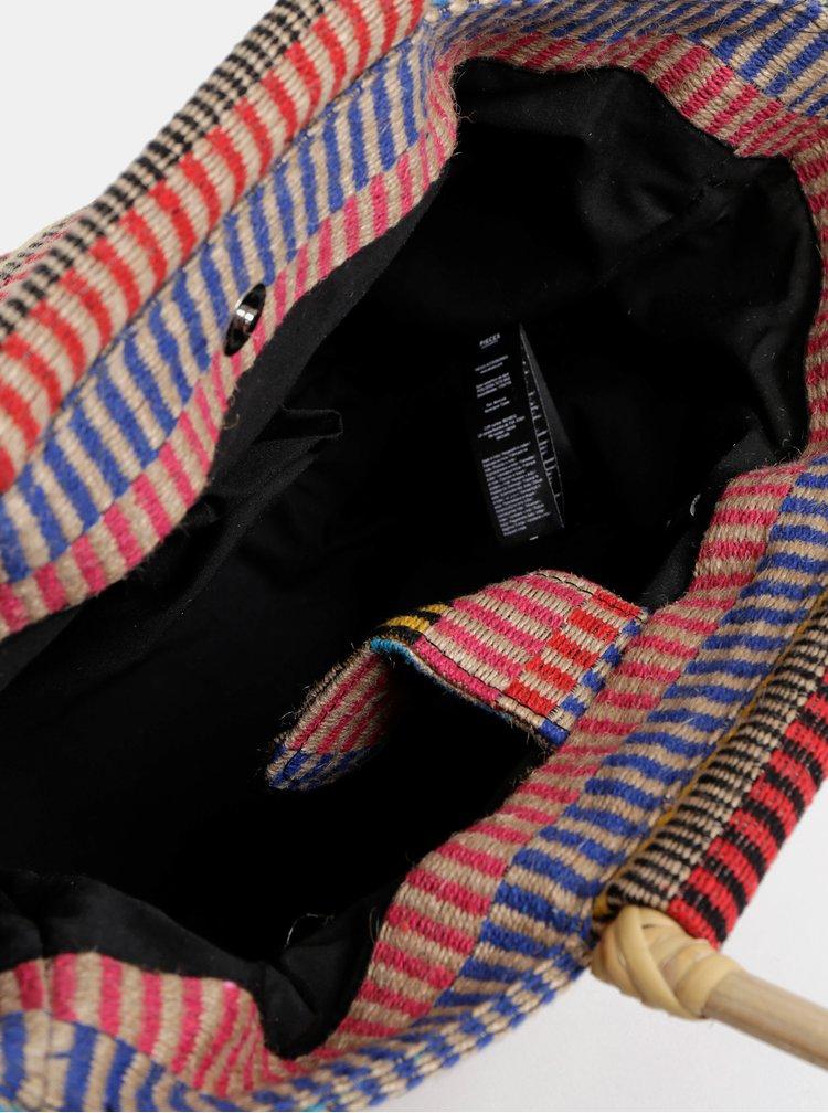 Červeno-béžová jůtová vzorovaná kabelka Pieces Ellessa