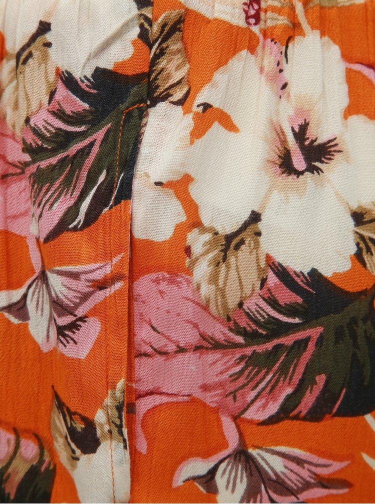 Oranžové květované kraťasy Dorothy Perkins Petite