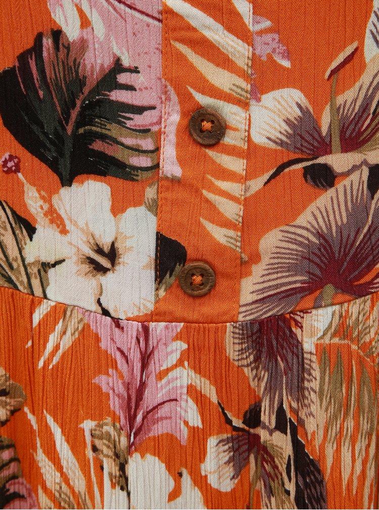 Rochie oranj florala cu bretele Dorothy Perkins Petite