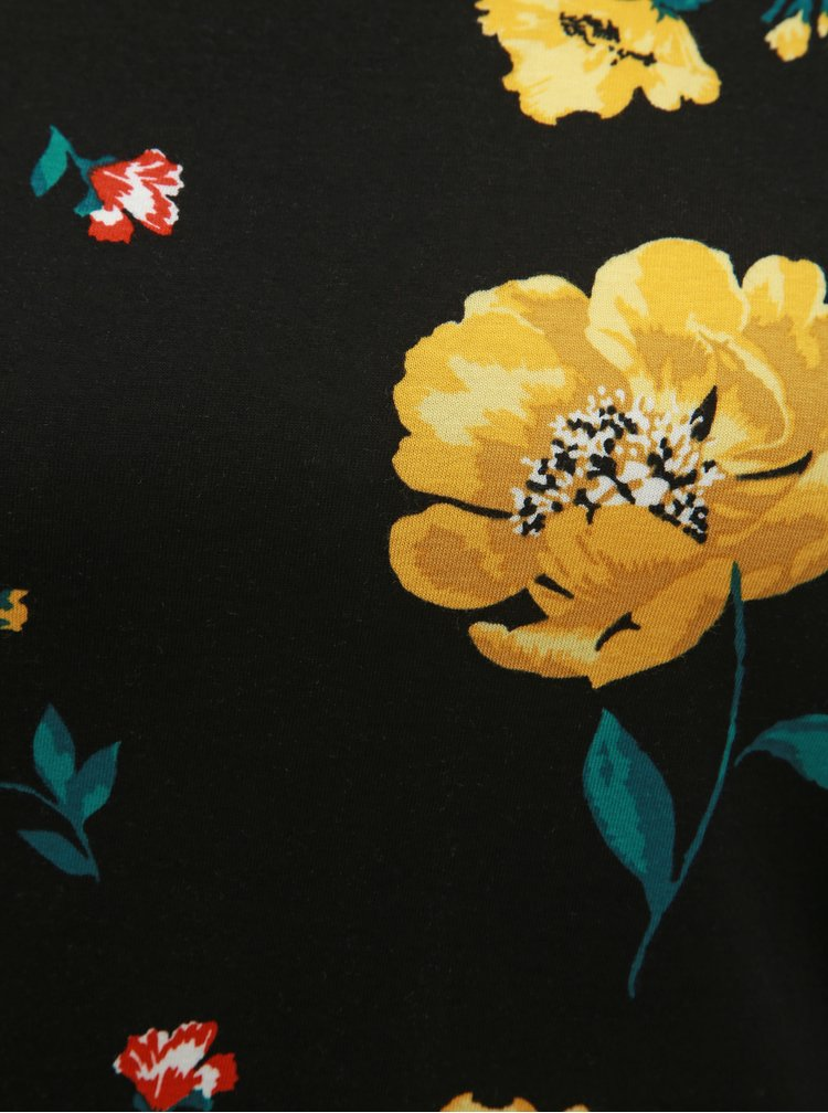 Tricou negru floral Dorothy Perkins Petite