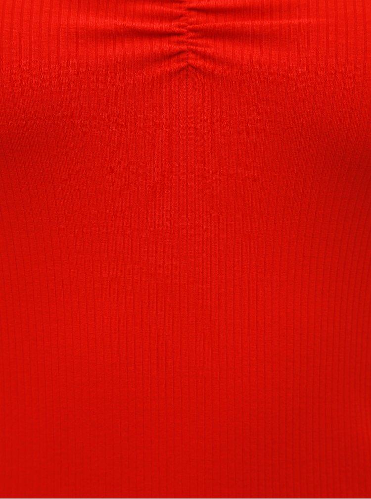 Červené žebrované tričko Dorothy Perkins