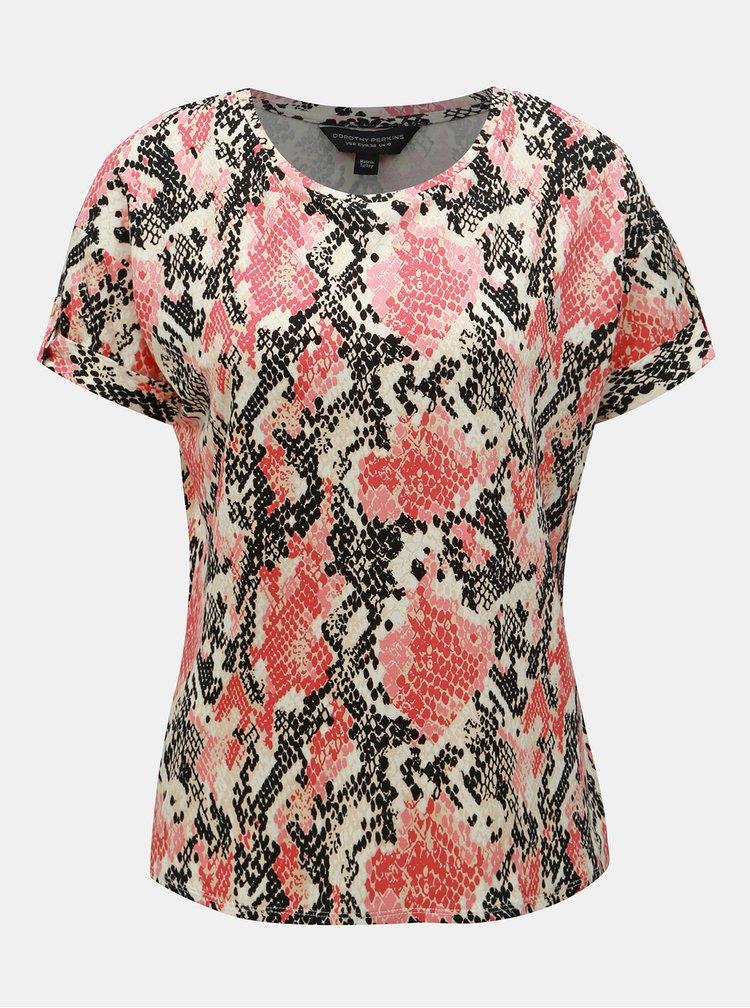 Korálové tričko s hadím vzorem Dorothy Perkins
