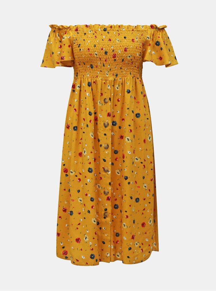 Hořčicové květované šaty s odhalenými rameny Dorothy Perkins Petite