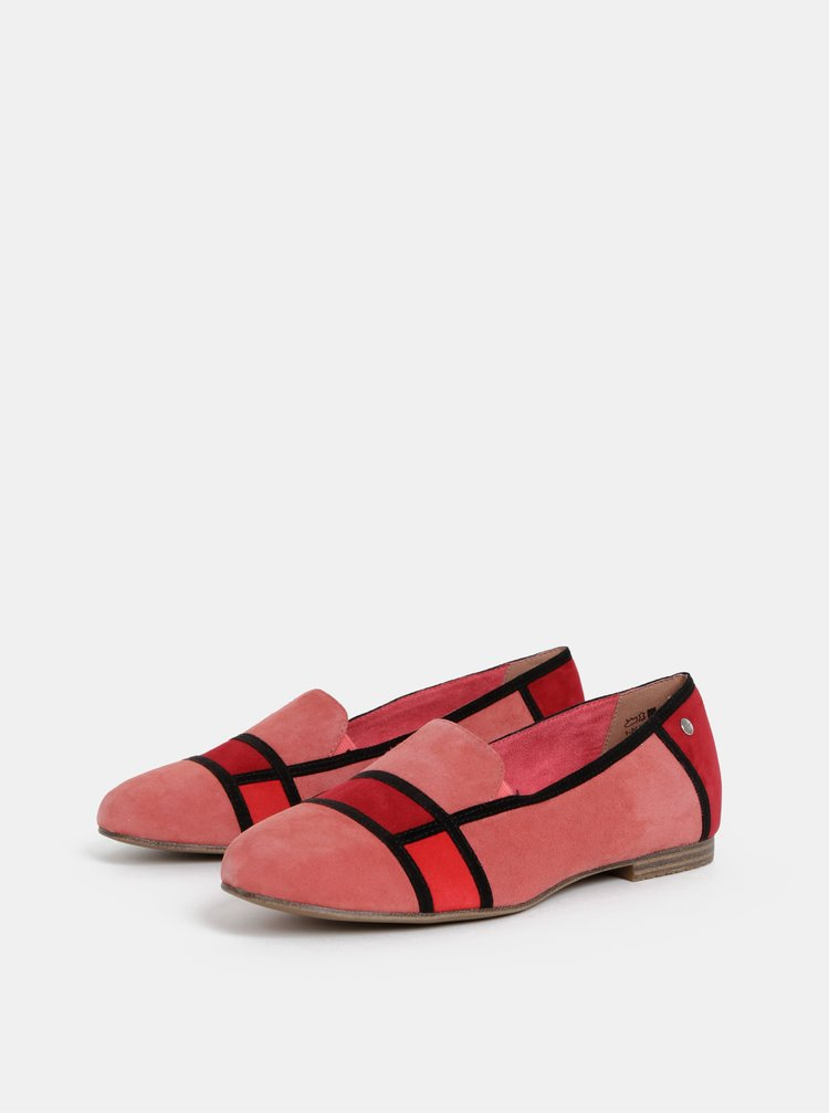 Balerini rosii din piele intoarsa Tamaris
