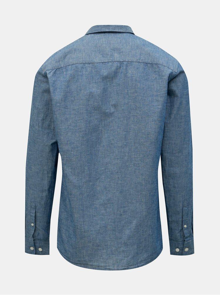 Modrá žíhaná regular fit košile s příměsí lnu Selected Homme Reglinen