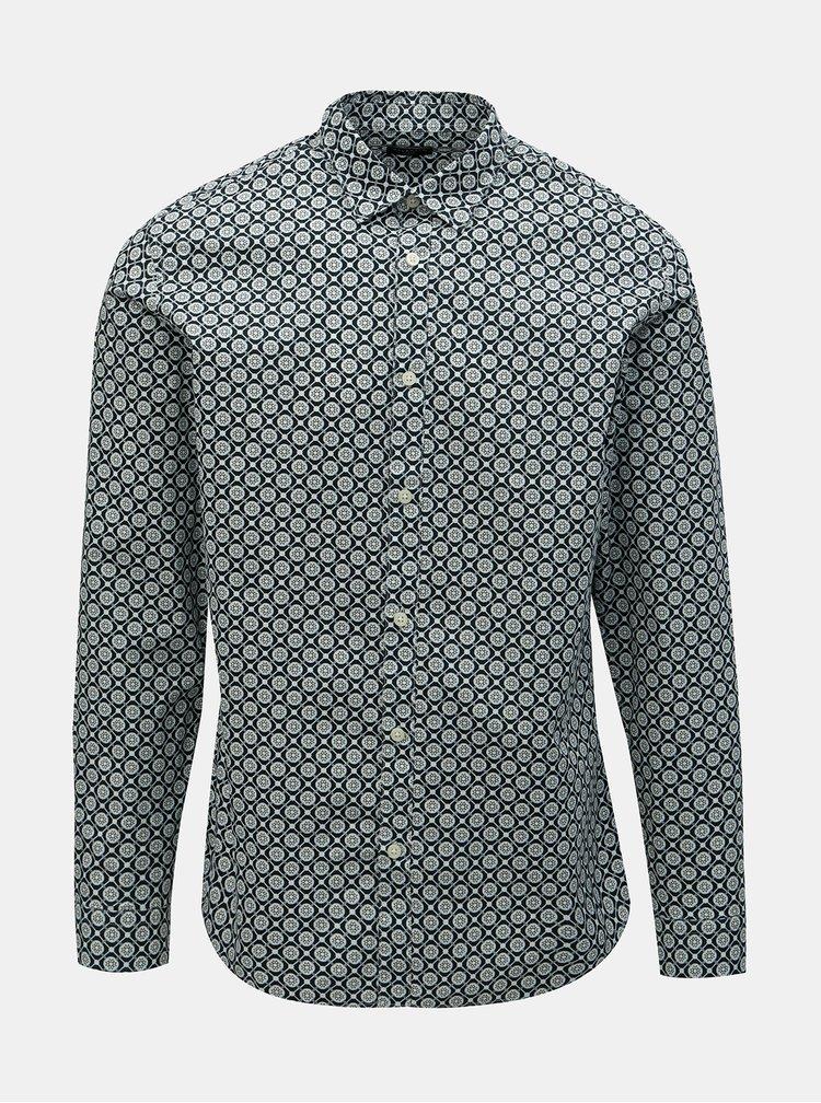 Tmavě modrá vzorovaná slim fit košile Selected Homme Rollo