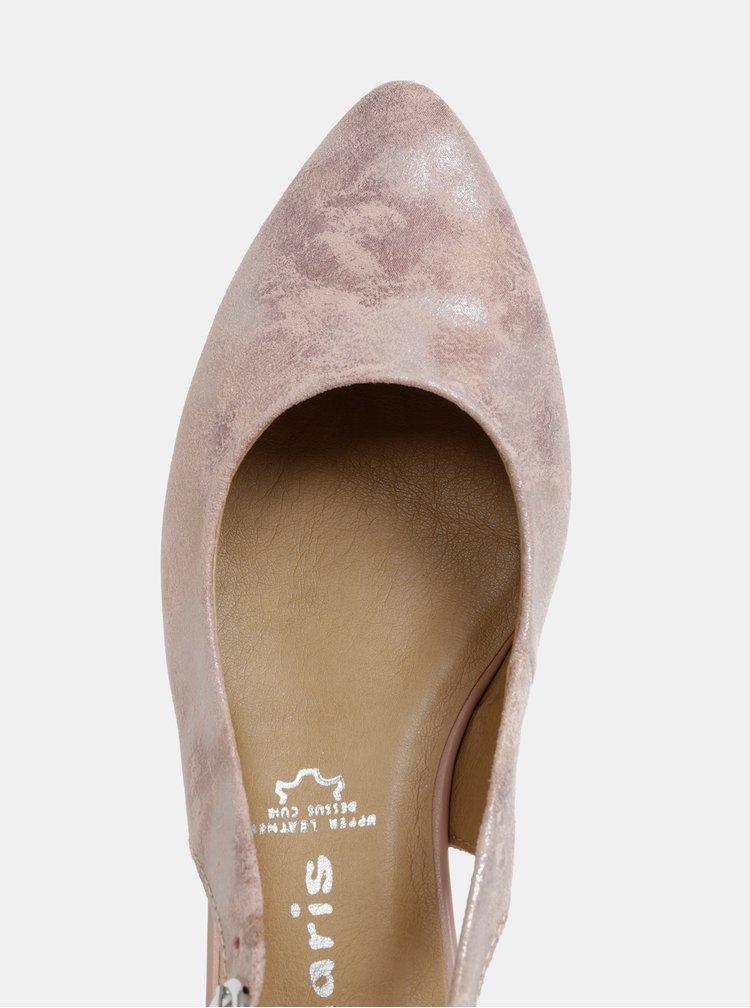 Pantofi roz deschis din piele Tamaris