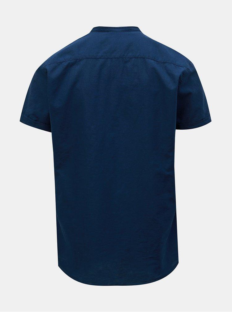 Tmavomodrá slim fit košeľa s prímesou ľanu Selected Homme