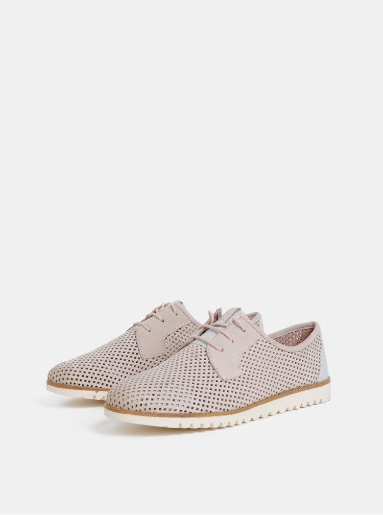 Pantofi roz deschis perforatii din piele Tamaris