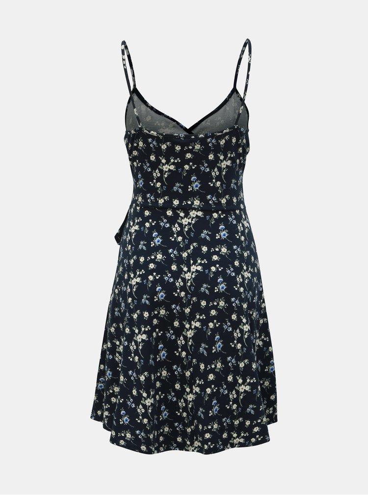 Rochie albastru inchis florala cu bretele Dorothy Perkins