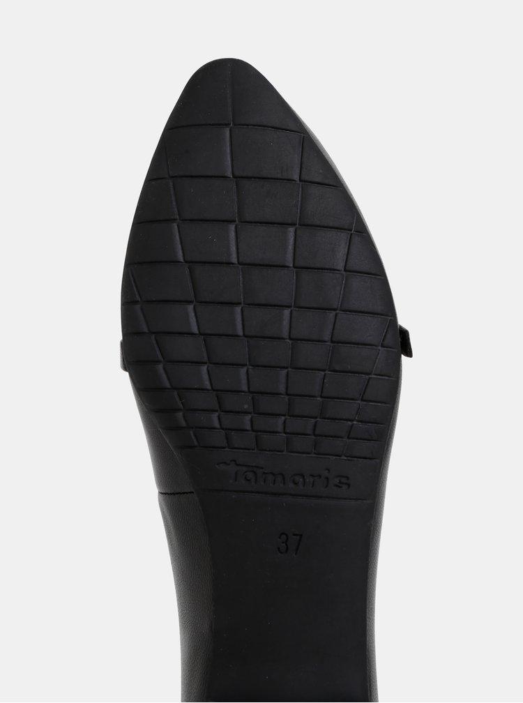 Černé kožené baleríny s páskem Tamaris