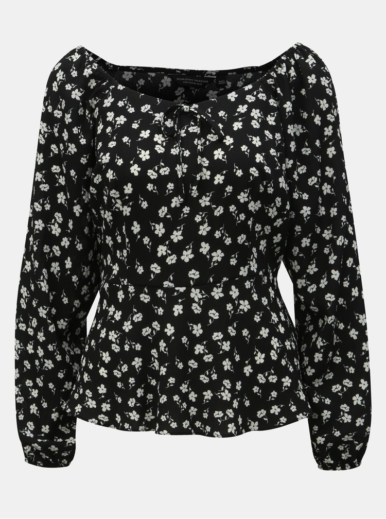 Bluza neagra florala Dorothy Perkins