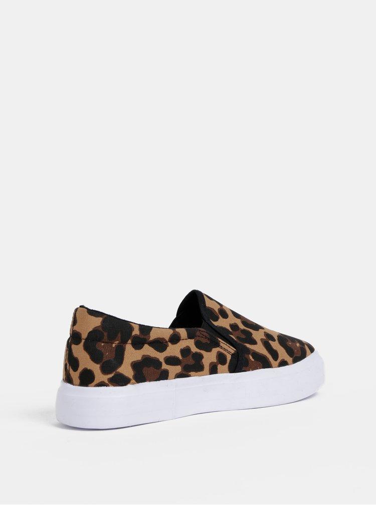 Hnedé slip on s leopardím vzorom Dorothy Perkins