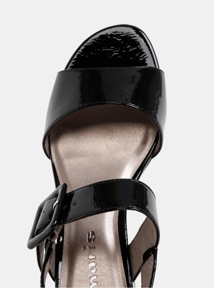 Černé lesklé sandály Tamaris