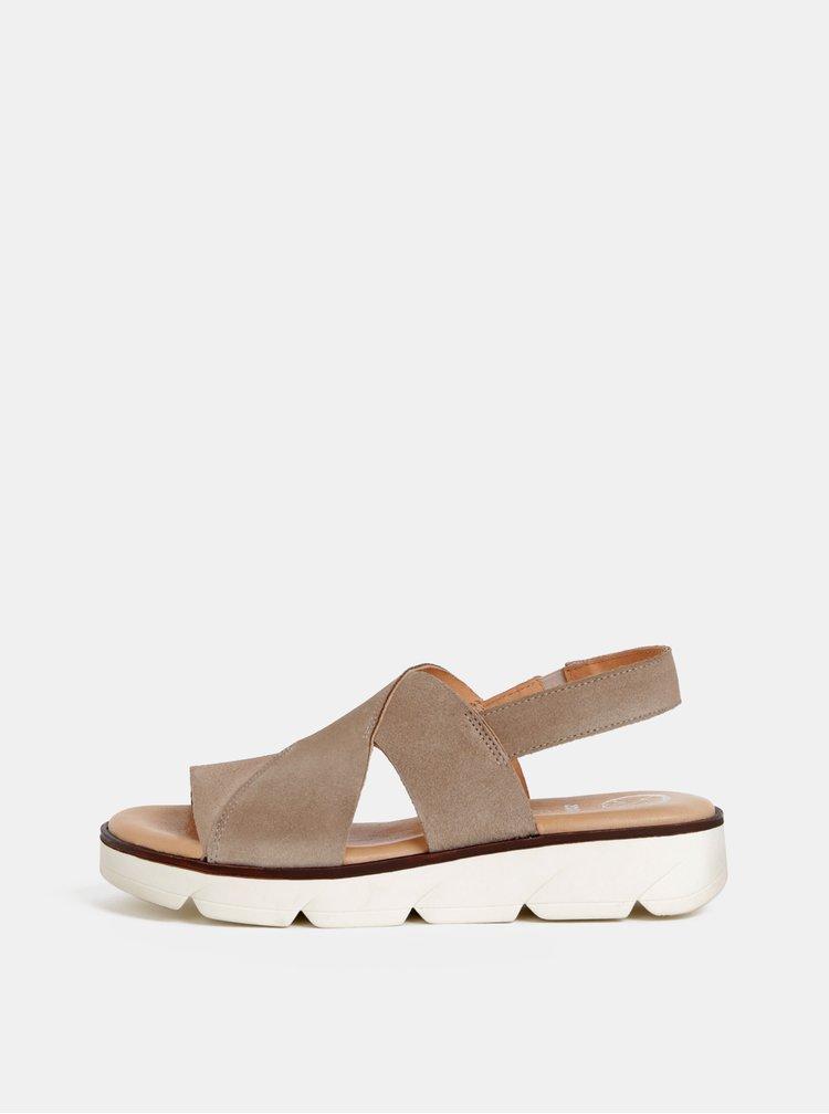 Sandale bej din piele intoarsa OJJU