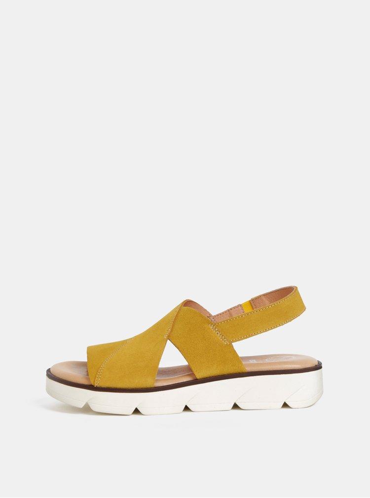 Sandale mustar din piele intoarsa OJJU