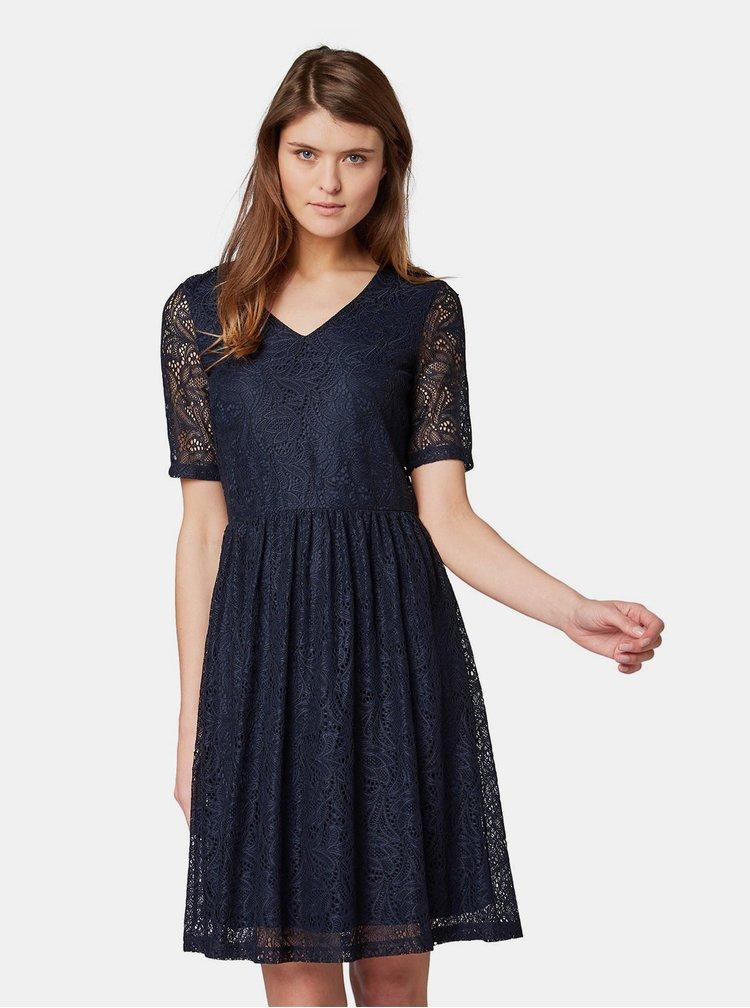 Tmavě modré krajkové šaty Tom Tailor