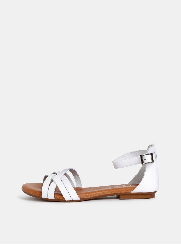 Sandale albe din piele OJJU