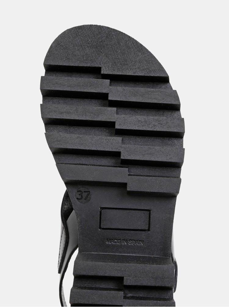 Sandale negre din piele cu platforma OJJU