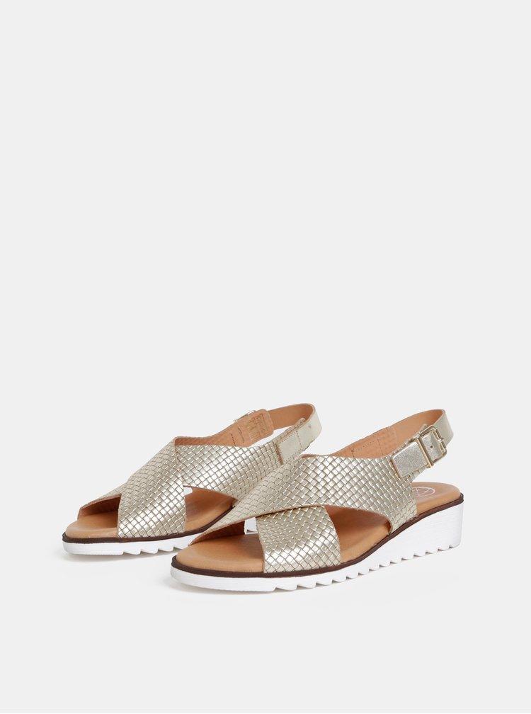 Kožené sandále na plnom podpätku v zlatej farbe OJJU