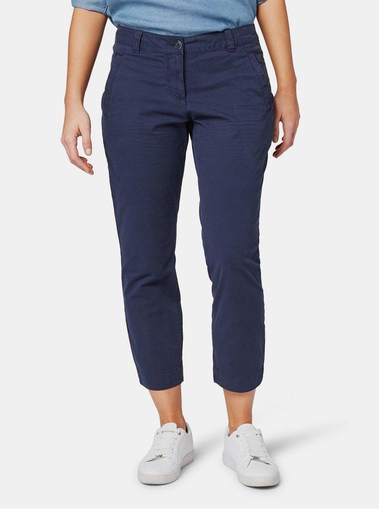 Tmavě modré dámské zkrácené slim fit chino kalhoty Tom Tailor