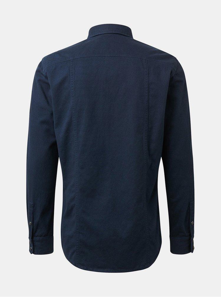 Tmavomodrá pánska rifľová regular fit košeľa Tom Tailor