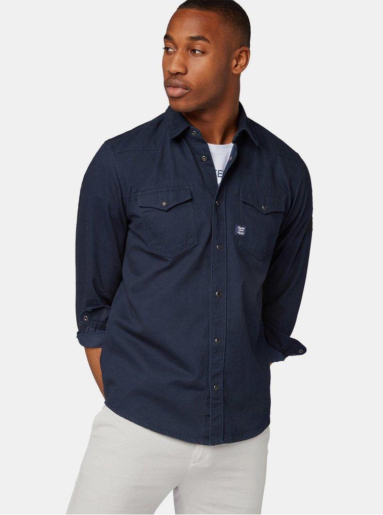 Tmavě modrá pánská džínová regular fit košile Tom Tailor