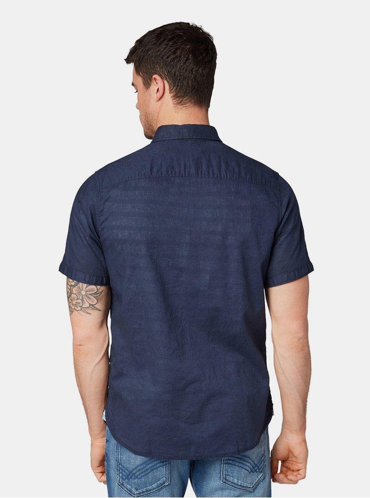 Tmavě modrá pánská lněná košile Tom Tailor